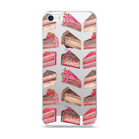 Cake Slices – Pink & Brown Palette • iPhone 5/5s/Se, 6/6s, 6/6s Plus Case (Transparent)
