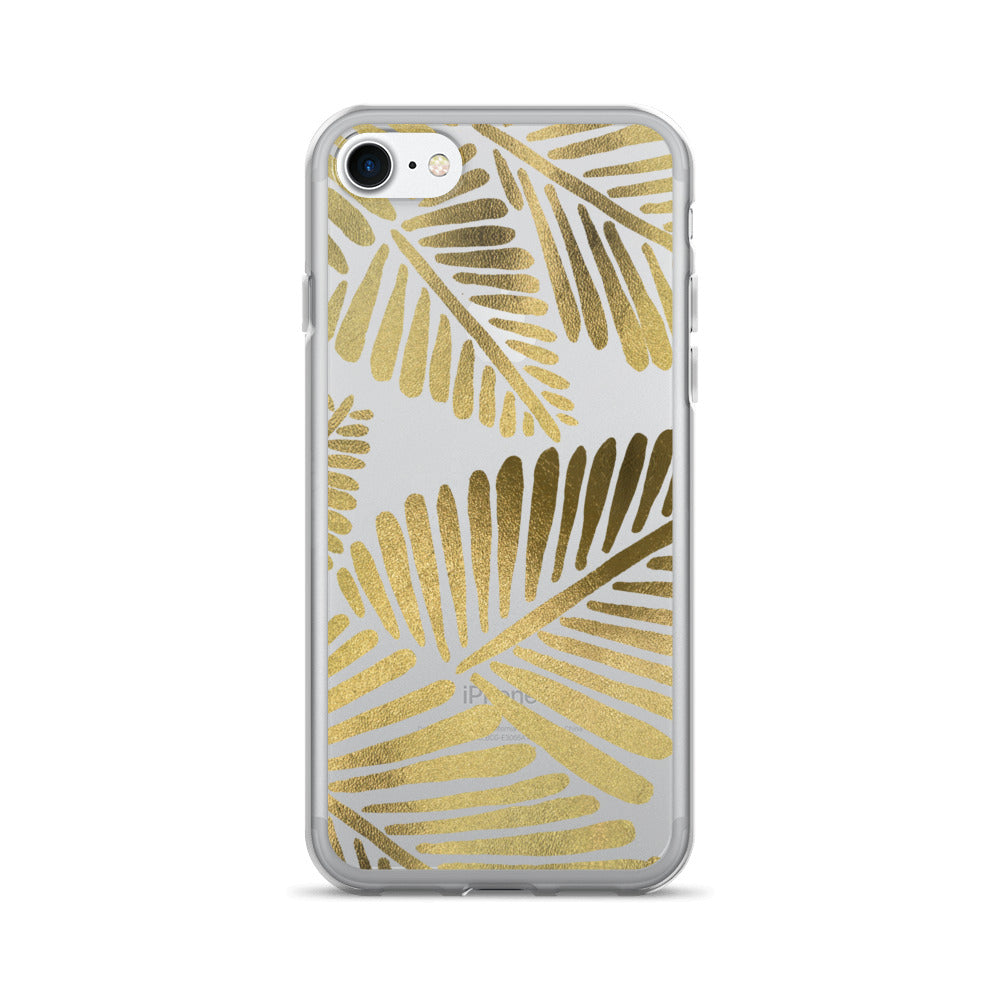 Banana Leaves – Gold Palette • iPhone 7/7 Plus Case (Transparent)