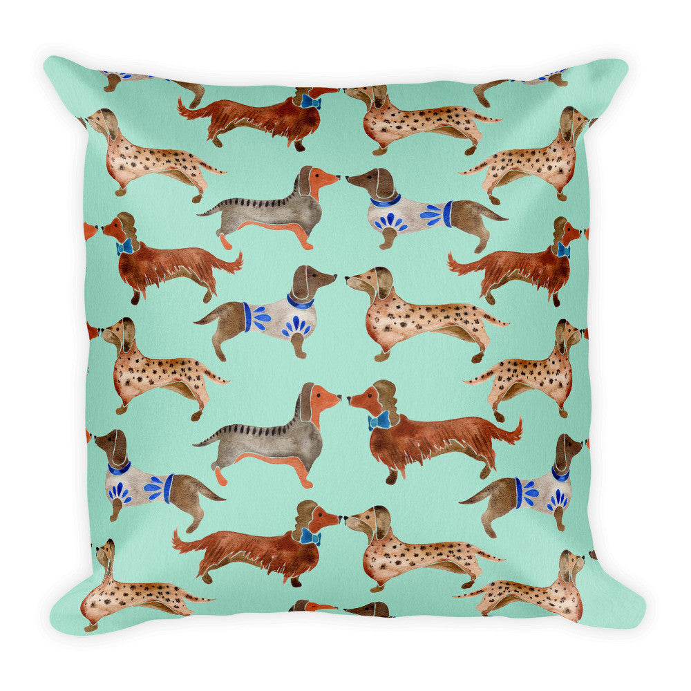 Dachshunds – Mint Palette  •  Square Pillow