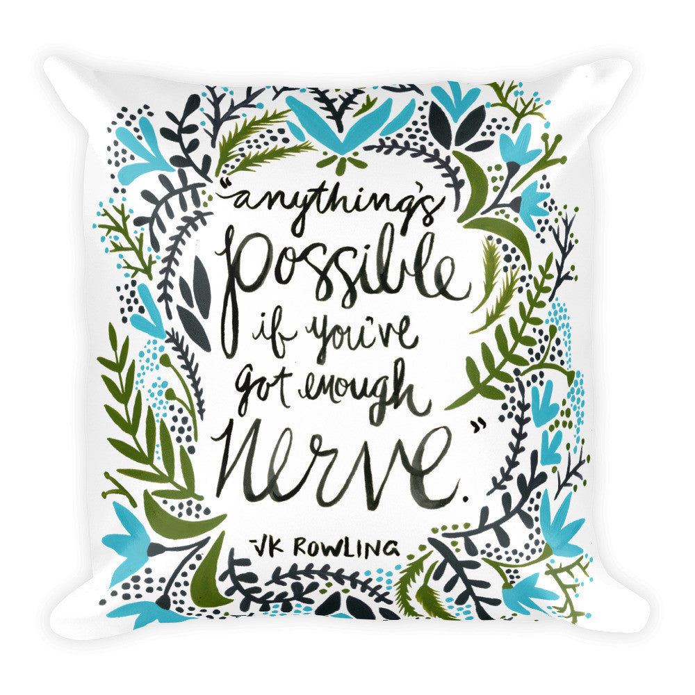 Anything's Possible – Green & Blue Palette • Square Pillow