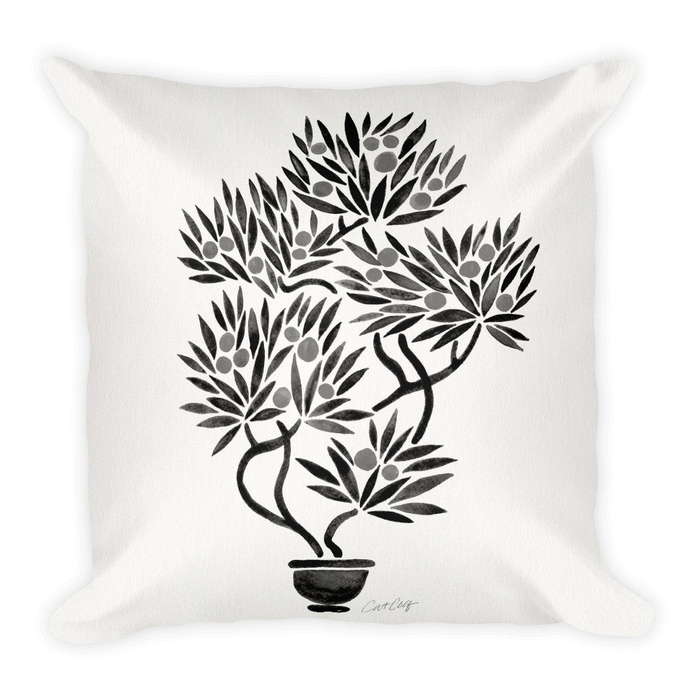 Bonsai Fruit Tree – Black Palette  •  Square Pillow