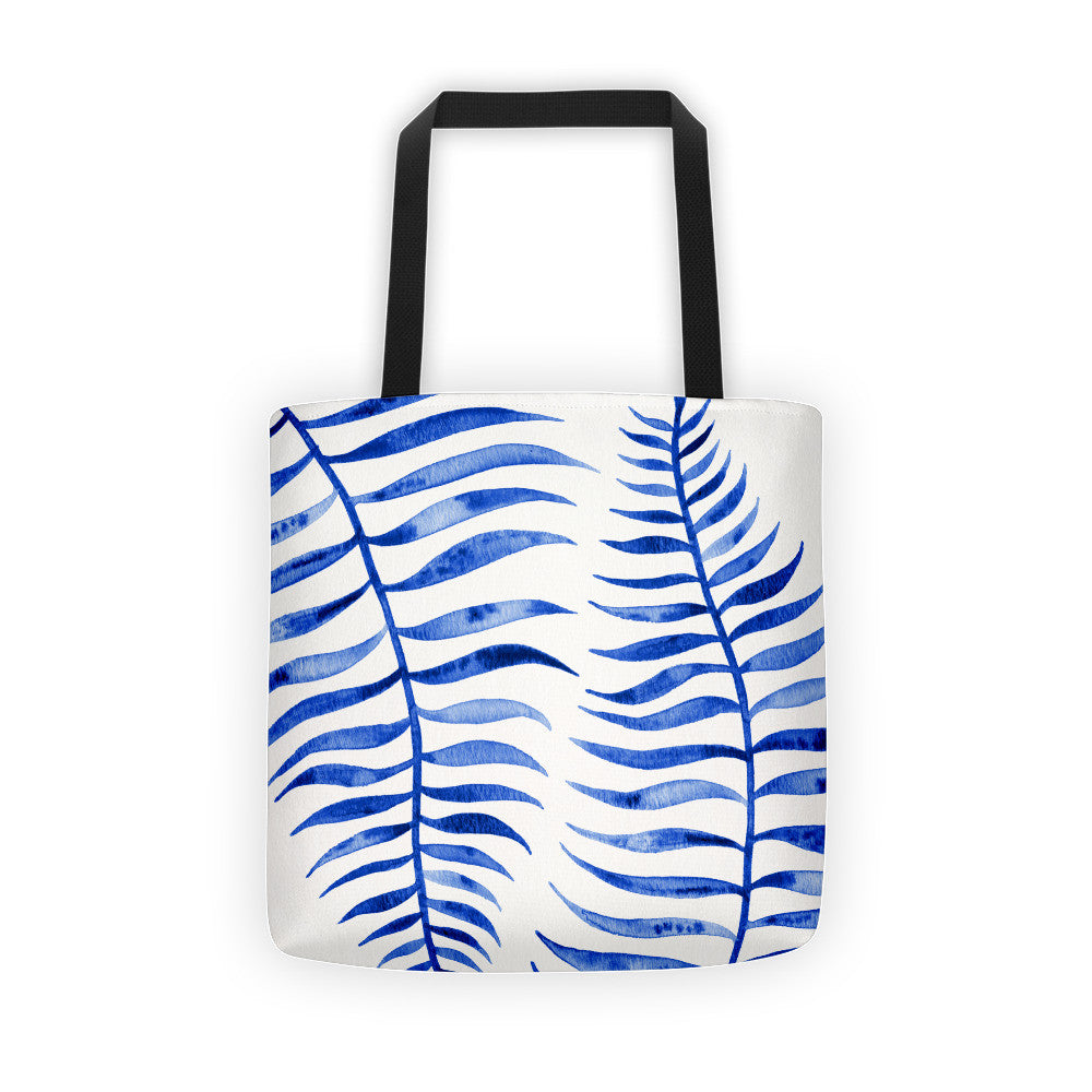 Palm Leaf – Navy Palette  •  Tote Bag