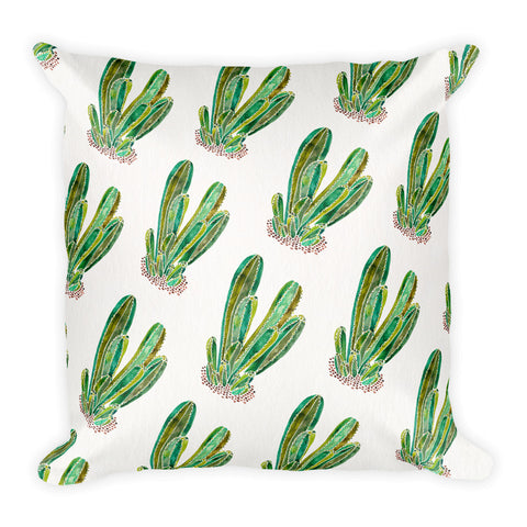 Cactus Cluster – Green Palette • Square Pillow