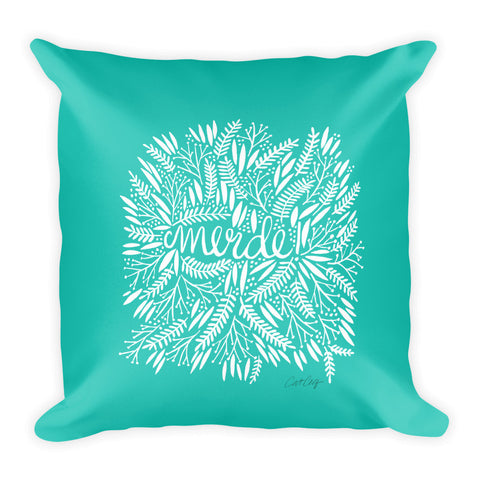 Merde – White Fronds on Turquoise • Square Pillow