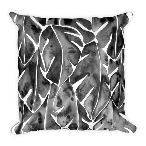 Split Leaf Philodendron – Black Palette • Square Pillow