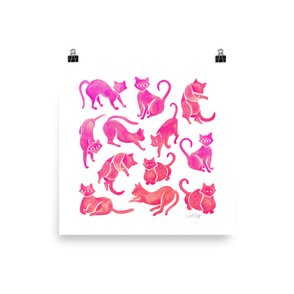 Cat Positions – Pink Ombré Palette • Art Print