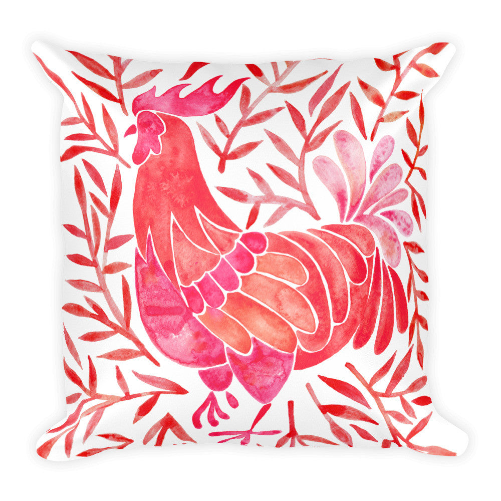 Le Coq – Red Palette • Square Pillow