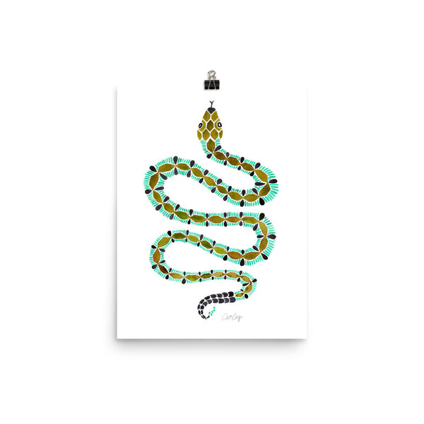 Serpent – Turquoise & Olive Palette • Art Print