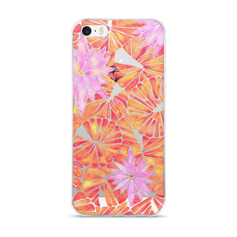 Water Lilies – Melon Palette  •  iPhone 5/5s/Se, 6/6s, 6/6s Plus Case (Transparent)