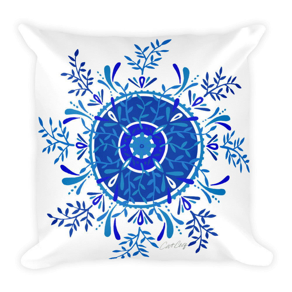 Leaf Mandala – Navy Palette  •  Square Pillow
