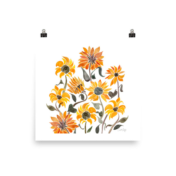 Sunflower Watercolor – Yellow Palette • Art Print