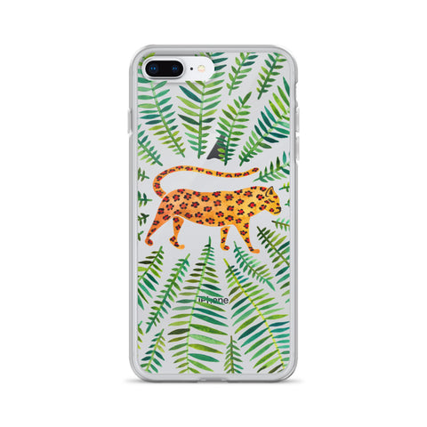 Jaguar – Green Leaves • iPhone Case (Transparent)