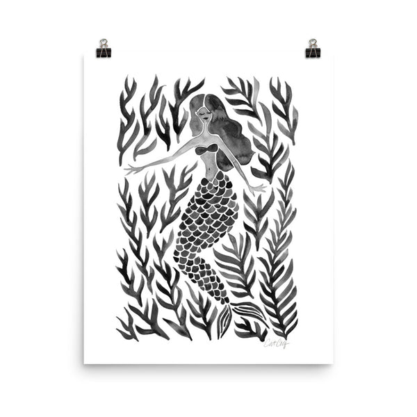 Kelp Forest Mermaid – Black Palette • Art Print