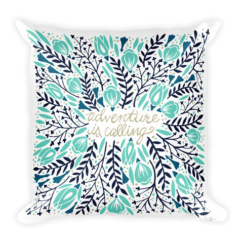 Adventure is Calling – Turquoise & Navy Palette  •  Square Pillow