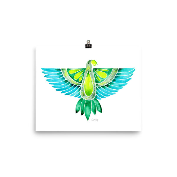 Parrot – Outstretched Wings in Blue/Green Palette • Art Print