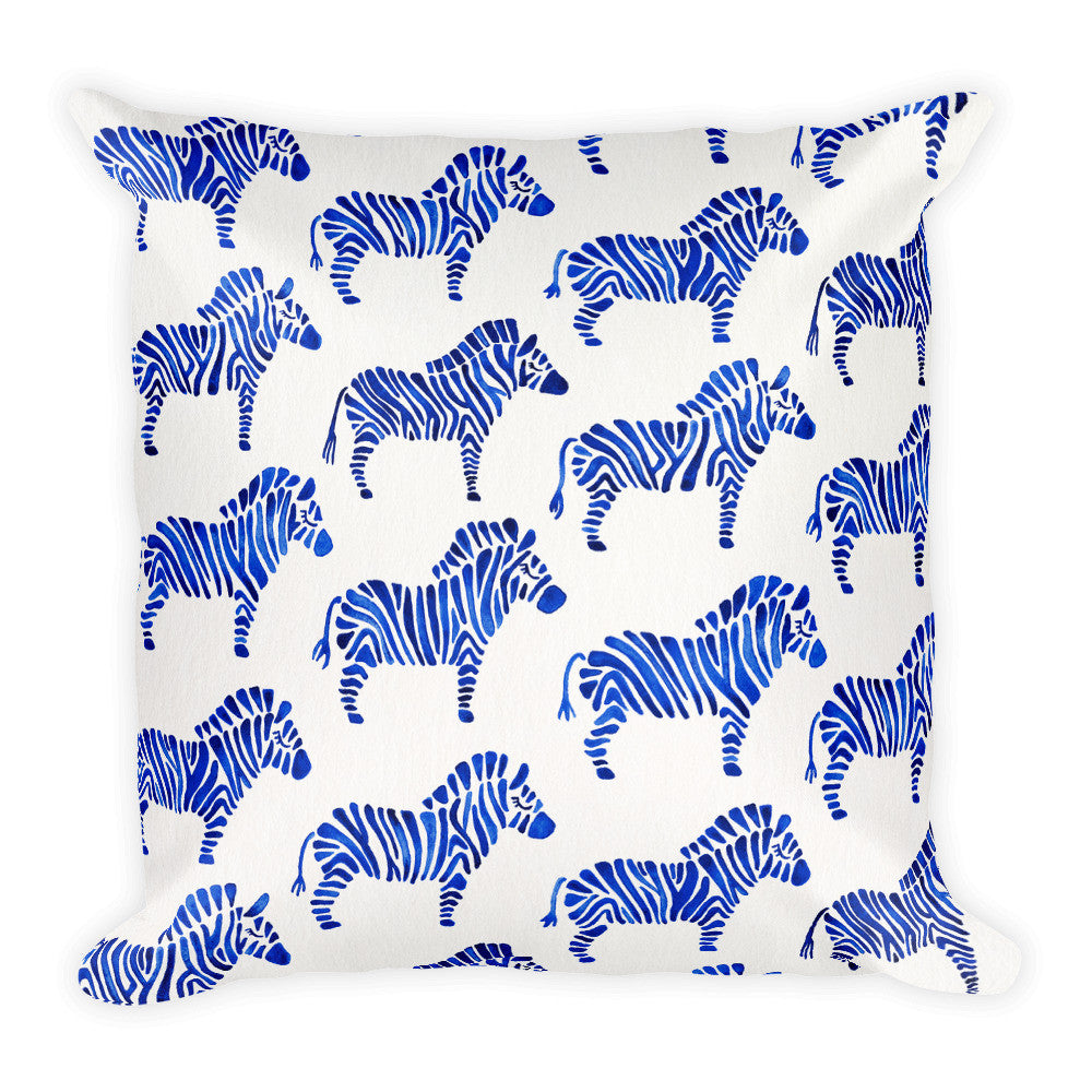 Zebra Collection – Navy Palette  •  Square Pillow