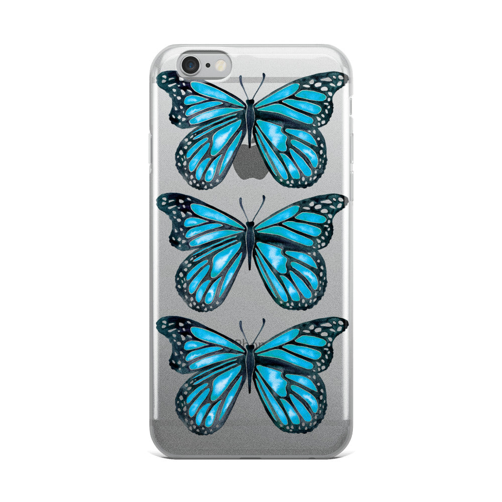 Butterfly – Blue Palette • iPhone Case (Transparent)