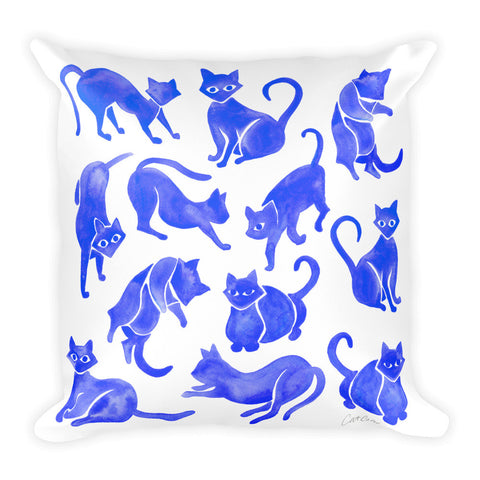 Cat Positions – Blue Palette  •  Square Pillow