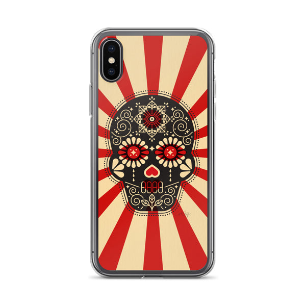 Día de Muertos – Mexican Sugar Skull – Crimson & Cream Starburst • iPhone Case