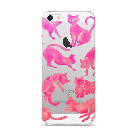 Cat Positions – Pink Ombré Palette  •  iPhone 5/5s/Se, 6/6s, 6/6s Plus Case (Transparent)