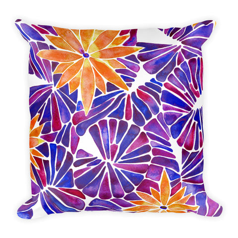 Water Lilies – Orange & Purple Palette  •  Square Pillow