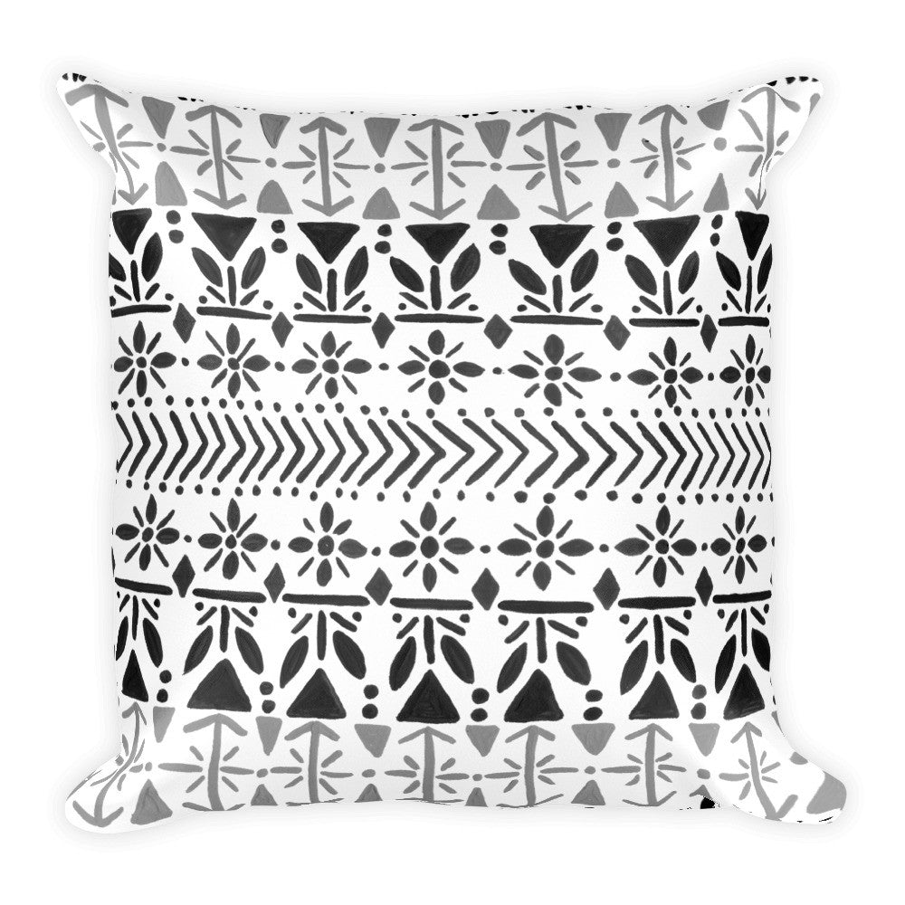 Norwegian Pattern – Black Palette • Square Pillow