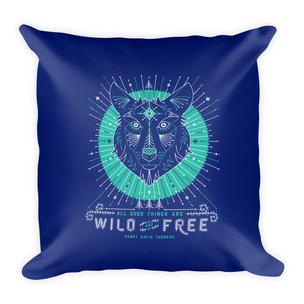 Wild & Free Wolf – Navy & Turquoise Palette  •  Square Pillow