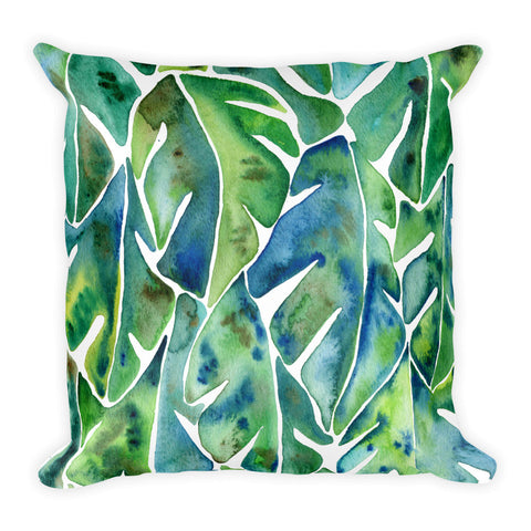 Split Leaf Philodendron – Green Palette • Square Pillow