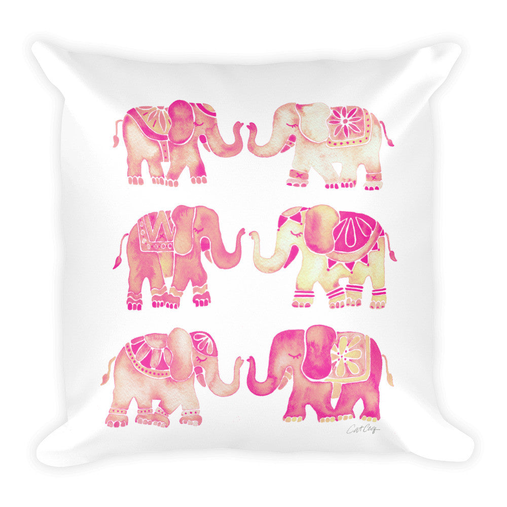 Elephant Collection – Pink Ombré Palette • Square Pillow