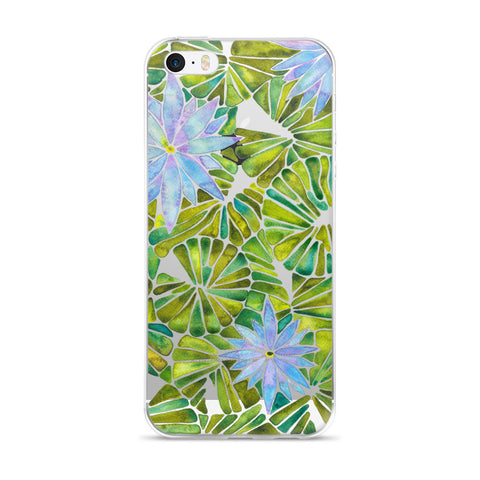 Water Lilies – Lavender & Green Palette  •  iPhone 5/5s/Se, 6/6s, 6/6s Plus Case (Transparent)