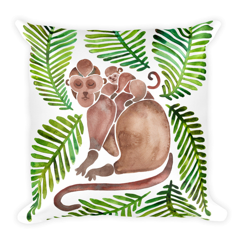 Monkeys – Green Leaves • Square Pillow