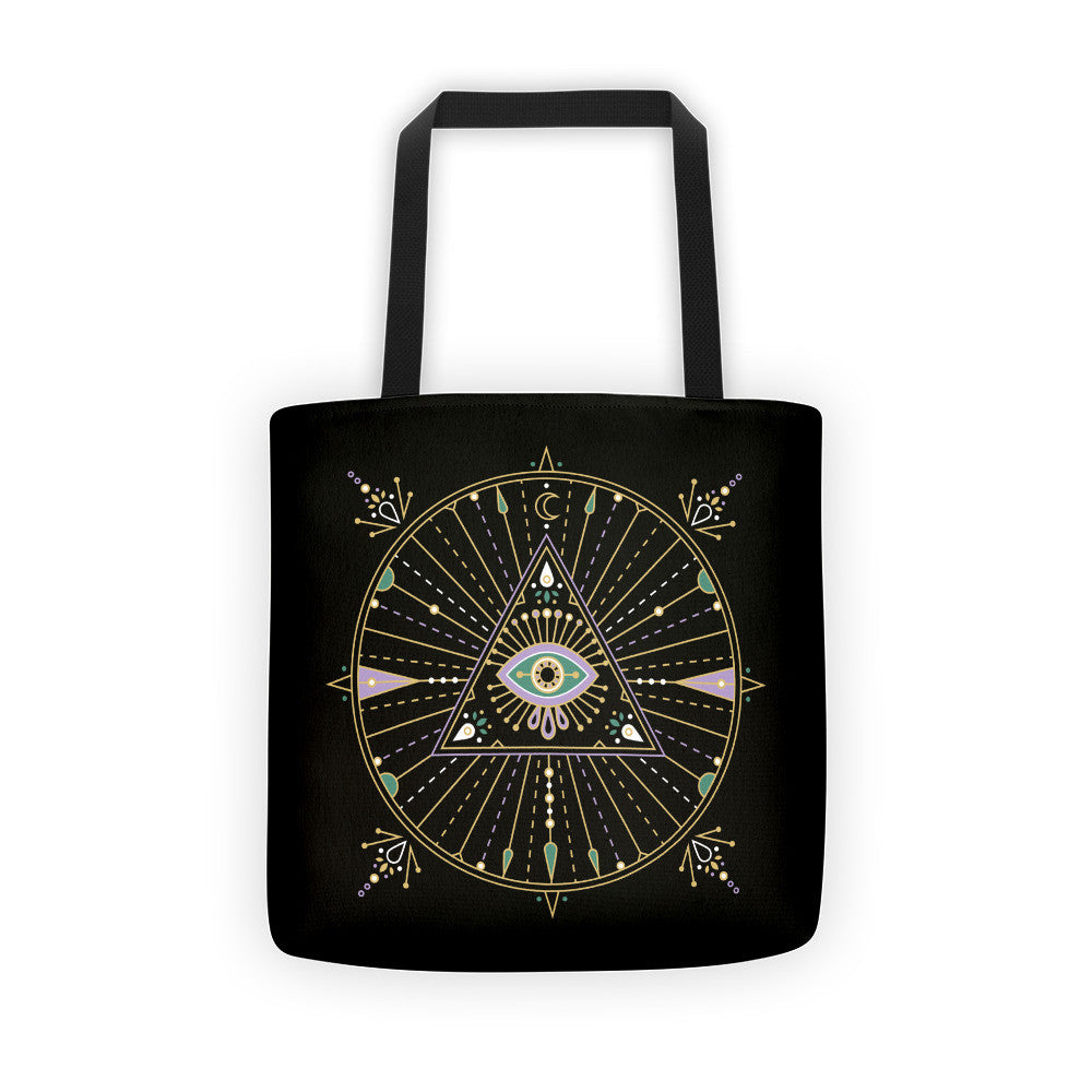 All-Seeing Eye Mandala – Black Palette •  Tote Bag