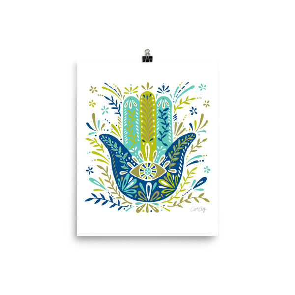 Hamsa Hand – Lime and Blue Palette • Art Print