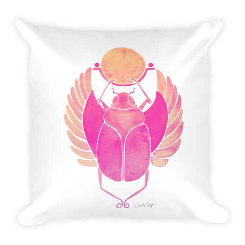 Egyptian Scarab – Pink Palette • Square Pillow