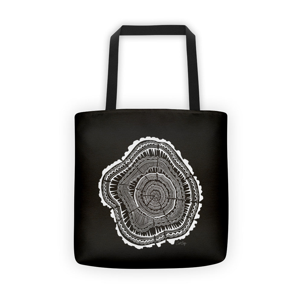 Tree Rings – White Ink on Black • Tote Bag