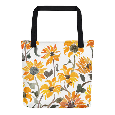 Sunflower Watercolor – Yellow Palette • Tote Bag