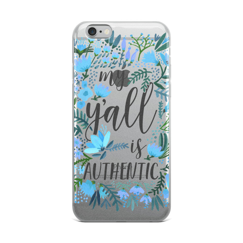 My Y'all is Authentic – Blue Palette • iPhone Case (Transparent)