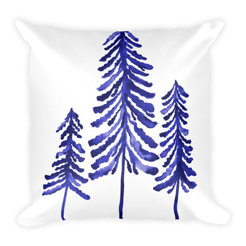 Pine Trees – Navy Palette • Square Pillow