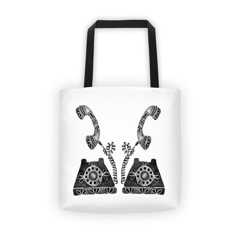 Vintage Rotary Phone – Black Palette • Tote Bag