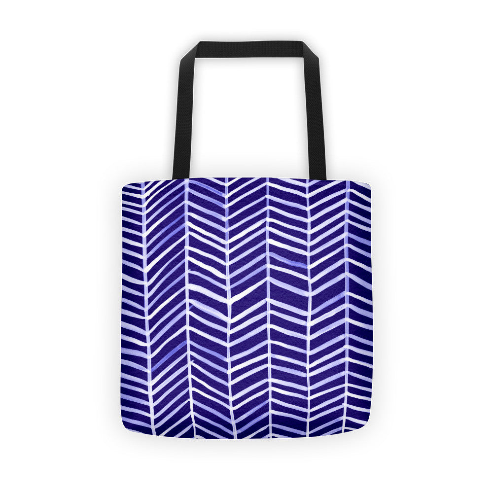 Herringbone – Navy Palette • Tote Bag
