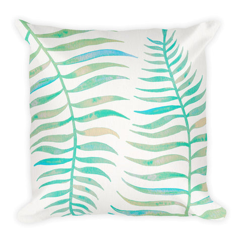 Palm Leaf – Turquoise Palette  •  Square Pillow