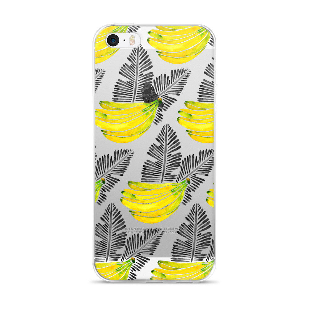 Banana Bunch – Yellow & Black  •  iPhone 5/5s/Se, 6/6s, 6/6s Plus Case (Transparent)