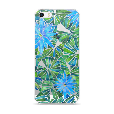 Water Lilies – Blue & Green Palette  •  iPhone 5/5s/Se, 6/6s, 6/6s Plus Case (Transparent)