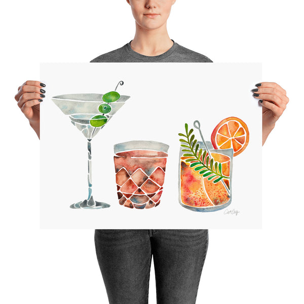 Classic Cocktails  – 1960s Watercolor Lineup • Art Print