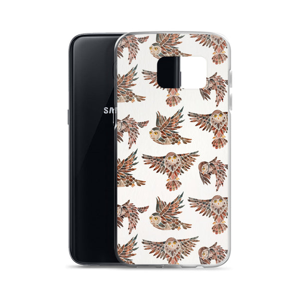 Owls in Flight – Brown Palette • Samsung Case