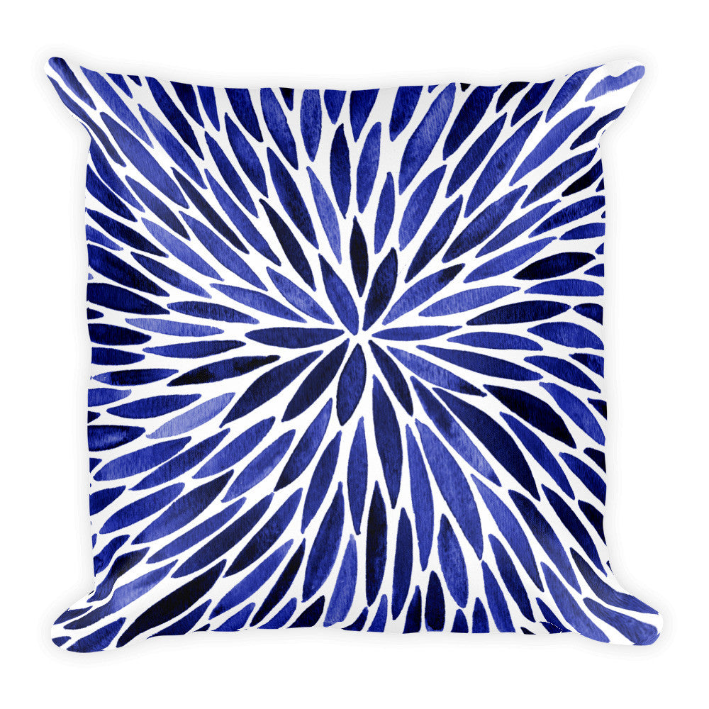 Watercolor Burst – Navy Palette  •  Square Pillow
