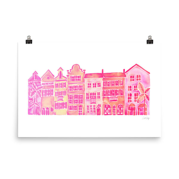 Row of Houses – Pink Palette • Art Print