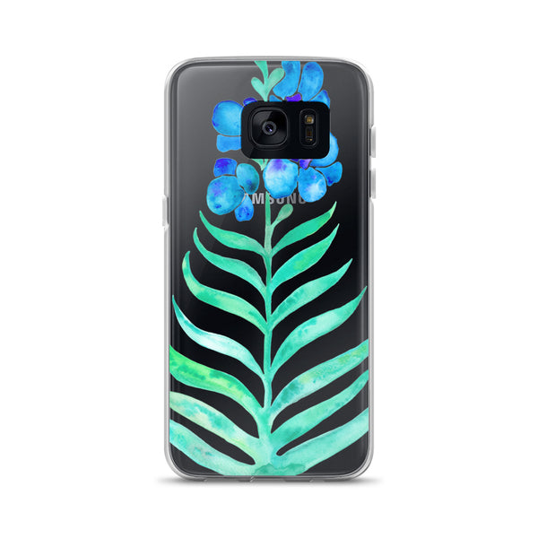 Orchid Bloom – Blue & Mint Palette • Samsung Case (Transparent)
