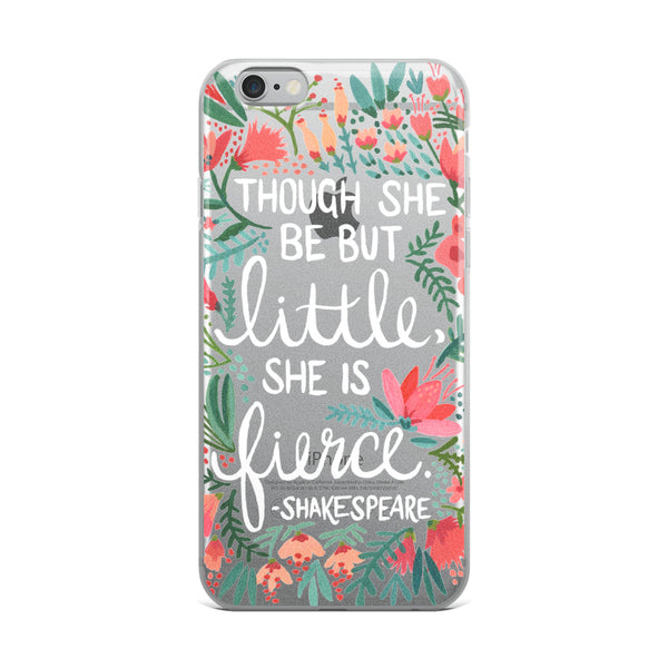 Little & Fierce – White Type • iPhone Case (Transparent)