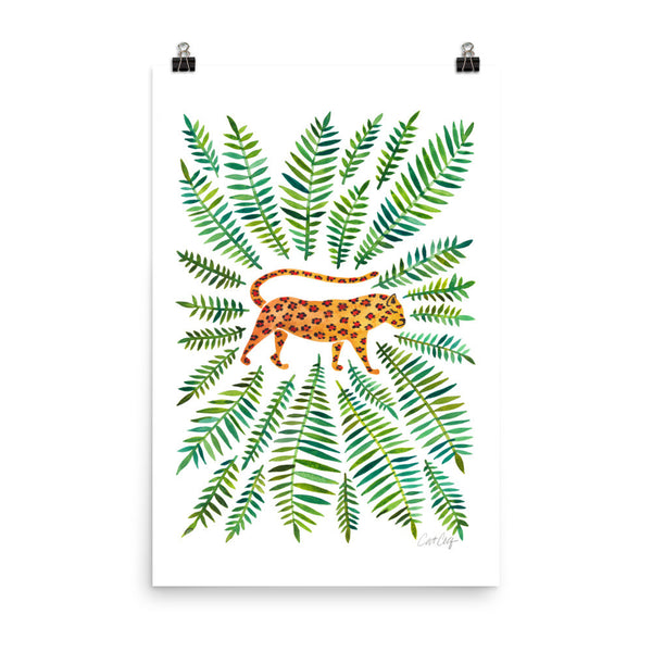 Jaguar – Green Leaves • Art Print